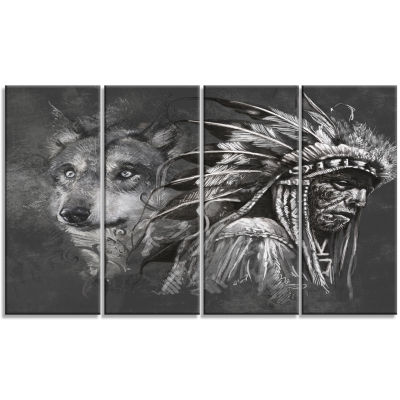 Designart Wolf and American indian Chief AbstractCanvas Artwork - 4 Panels