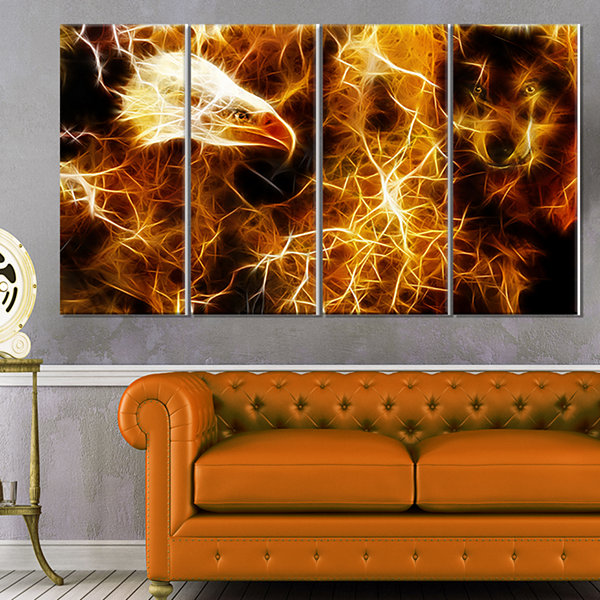 Designart Wolf and Eagle Collage Abstract Canvas Art Print -4 Panels