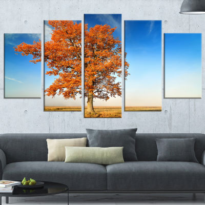 Designart Colorful Lonely Fall Tree Landscape Photo WrappedCanvas Art Print - 5 Panels