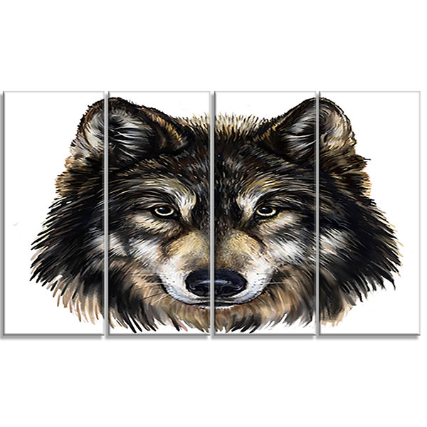 Designart Wolf Head Animal Art on Canvas - 4 Panels