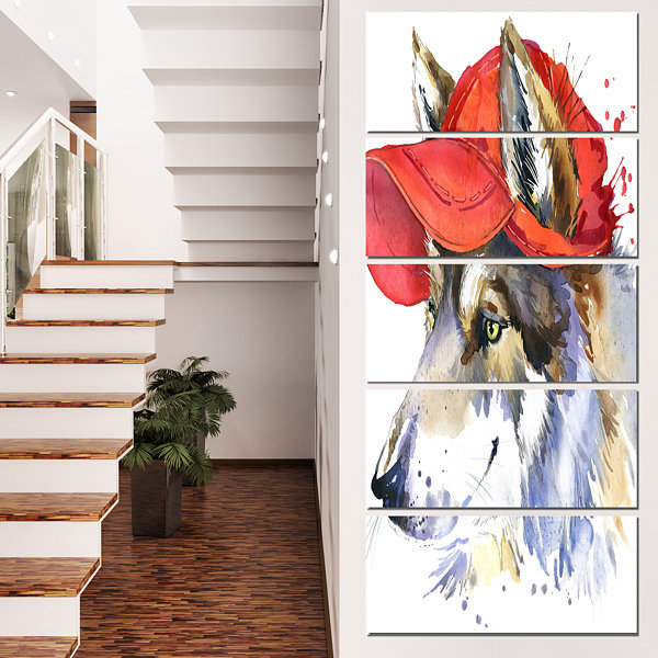 Designart Wolf with Red Cap Illustration Animal Canvas WallArt - 5 Panels