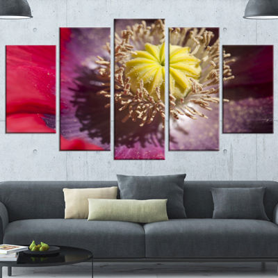 Designart Colorful Opium Poppy Flower Photo Flowers Canvas Wall Artwork - 4 Panels