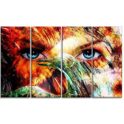Woman Feather Collage Portrait Canvas Print - 4 Panels