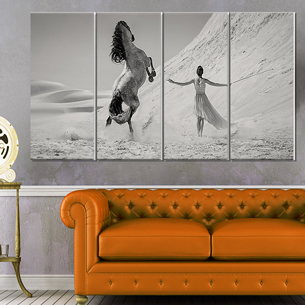 Woman with Majestic Horse Animal Canvas Art Print- 4 Panels