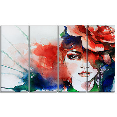 Designart Woman with Rose Illustration Abstract Canvas Artwork - 4 Panels