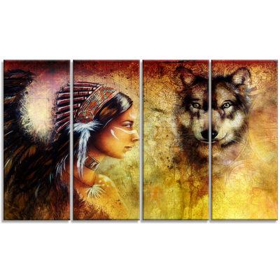 Designart Woman with Wolf Portrait Canvas Art Print - 4 Panels