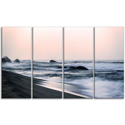 Designart Wonderful Long Exposure Sea Waves BeachPhoto Canvas Print - 4 Panels
