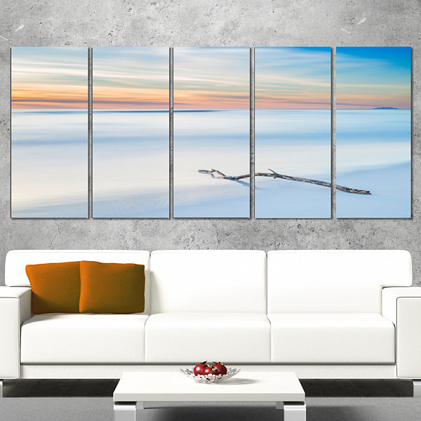 Wood Branch on Beach at Twilight Modern Seascape Canvas Artwork - 4 Panels