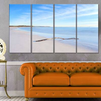 Wood Branch on White Beach Modern Seascape CanvasArtwork - 4 Panels