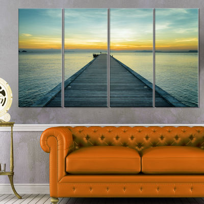 Wood Pier into the Yellow Blue Sea Wooden Sea Bridge Canvas Wall Art - 4 Panels