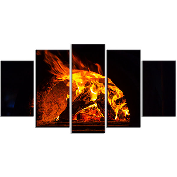 Designart Wood Stove with Fire and Blaze AbstractWall Art Wrapped - 5 Panels