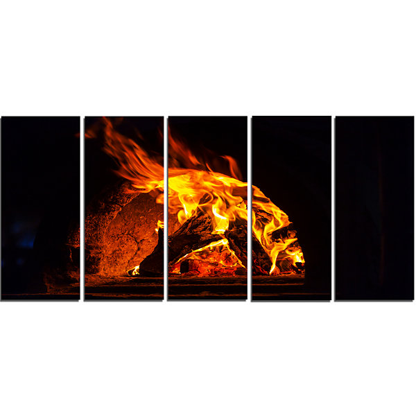 Designart Wood Stove with Fire and Blaze AbstractWall Art Canvas - 5 Panels