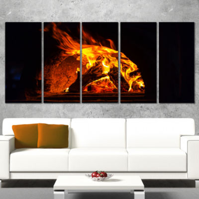 Wood Stove with Fire and Blaze Abstract Wall Art Canvas - 5 Panels