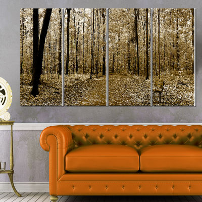 Designart Wooded Forest Panoramic View Modern Forest CanvasArt - 4 Panels