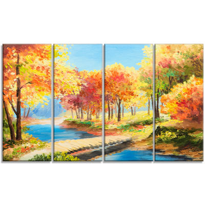 Designart Wooden Bridge in Colorful Forest Landscape Art Print Canvas - 4 Panels