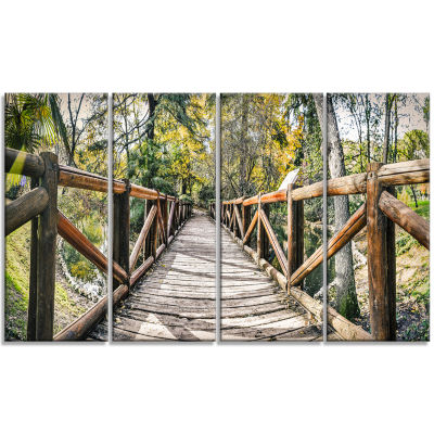 Wooden Bridge in Forest Wooden Sea Bridge Canvas Wall Art - 4 Panels
