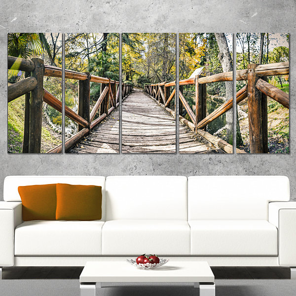 Designart Wooden Bridge in Forest Wooden Sea Bridge Canvas Wall Art - 5 Panels