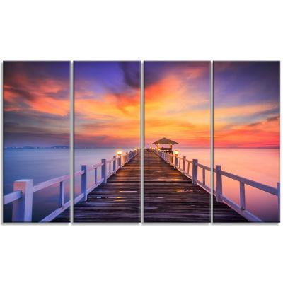 Designart Wooden Bridge Landscape Photography Canvas Art Print - 4 Panels