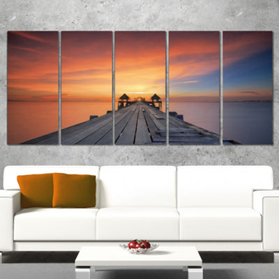 Designart Wooden Bridge Straight into the Sea SeaBridge Wrapped Art Print - 5 Panels