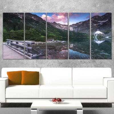 Designart Wooden Foot Bridge Over Lake Landscape Canvas ArtPrint - 4 Panels
