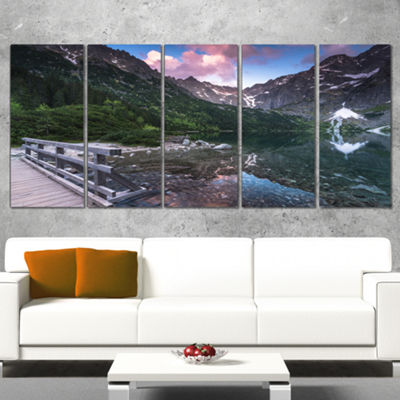 Designart Wooden Foot Bridge Over Lake Landscape Canvas ArtPrint - 5 Panels