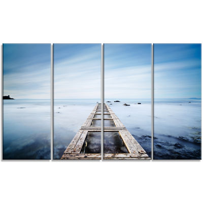 Designart Wooden Jetty in Morning Blue Sea Oversized Landscape Wall Art Print - 4 Panels