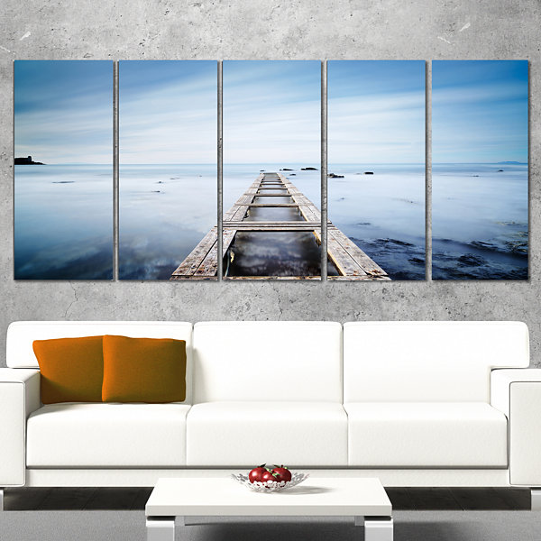 Wooden Jetty in Morning Blue Sea Oversized Landscape Wrapped Wall Art Print - 5 Panels