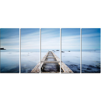 Designart Wooden Jetty in Morning Blue Sea Oversized Landscape Wall Art Print - 5 Panels