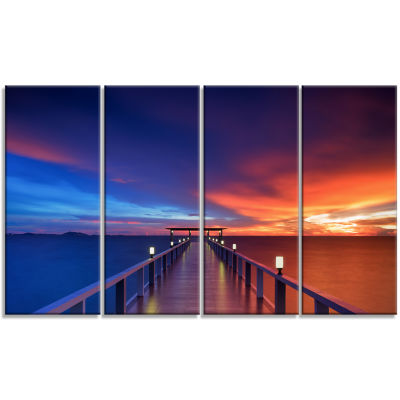 Designart Wooden Pier Seascape Photography CanvasArt Print- 4 Panels