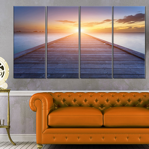Wooden Pier To Bright Evening Sun Sea Bridge Canvas Art Print - 4 Panels