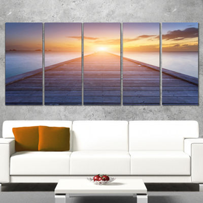 Designart Wooden Pier To Bright Evening Sun Sea Bridge Canvas Art Print - 5 Panels