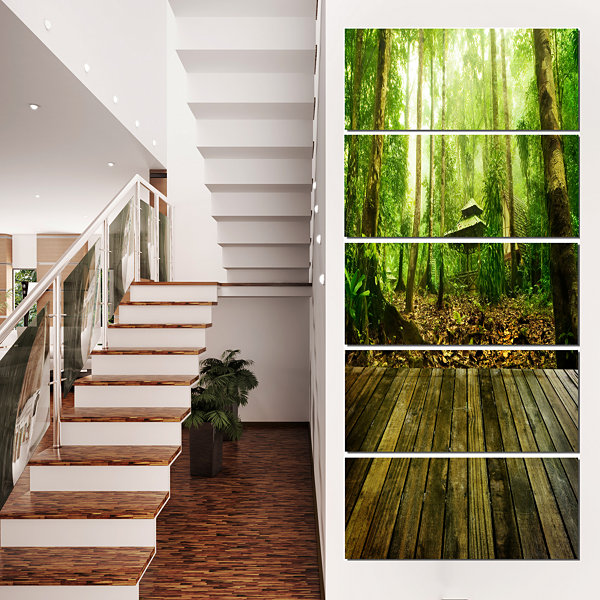 Designart Wooden Platform in Green Forest Landscape Photography Canvas Print - 4 Panels