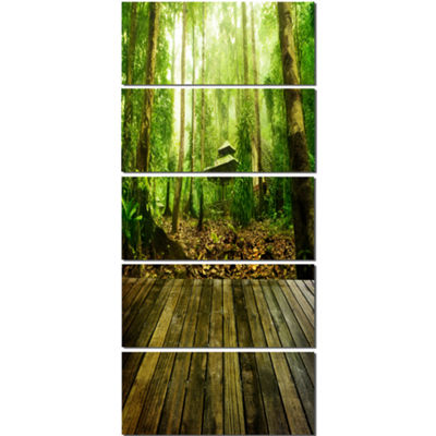 Designart Wooden Platform in Green Forest Landscape Photography Canvas Print - 5 Panels