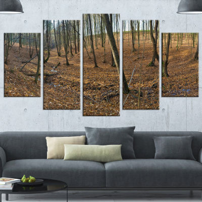 Designart Woods in Fall Forest Panorama Forest Canvas Art Print - 5 Panels