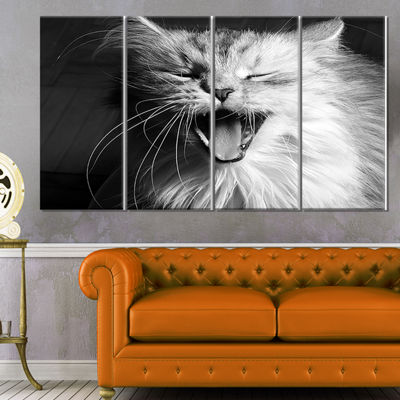 Designart Yawning White Cat Animal Canvas Art Print - 4 Panels