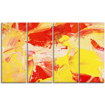 Designart Yellow and Red Abstract Art Abstract Canvas Print- 4 Panels