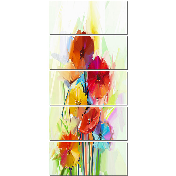 Designart Yellow and Red Gerbera Flowers Large Floral CanvasArtwork - 5 Panels