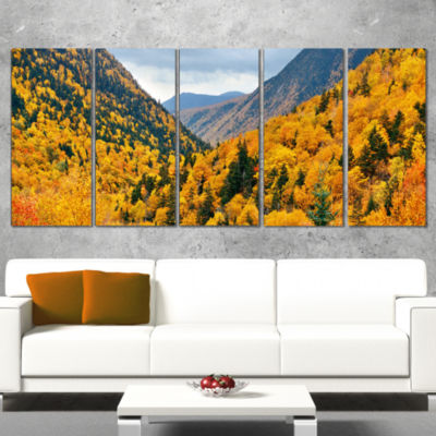Designart Yellow Autumn Foliage Over Hills Landscape ArtworkCanvas - 4 Panels