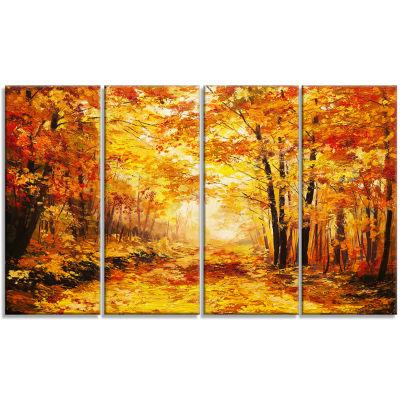 Yellow Autumn Forest Landscape Art Print Canvas -4 Panels