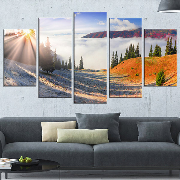 Designart Yellow Beach Forest in Carpathians Landscape Photography Canvas Print - 5 Panels