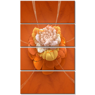 Designart Yellow Blossom Fractal Flower Flower Artwork on Canvas - 4 Panels