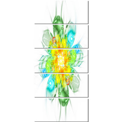 Yellow Blue Glowing Fractal Flower Floral Canvas Art Print - 5 Panels
