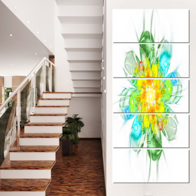 Designart Yellow Blue Glowing Fractal Flower Floral Canvas Art Print - 5 Panels