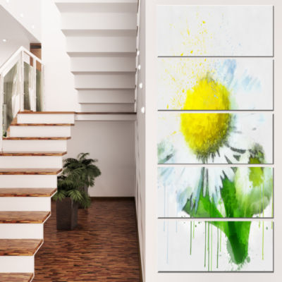 Yellow Chamomile Sketch Watercolor Floral Canvas Art Print - 4 Panels