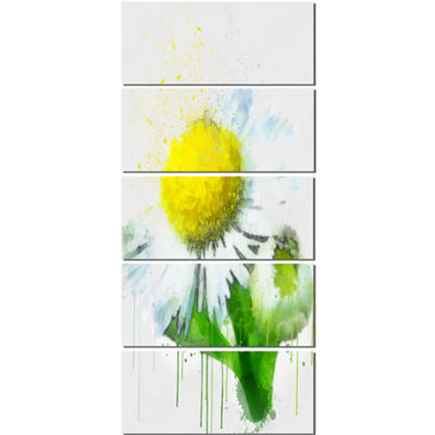 Designart Yellow Chamomile Sketch Watercolor Floral Canvas Art Print - 5 Panels
