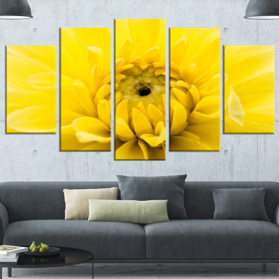 Designart Yellow Chrysanthemum Gold Flower FlowerArtwork onCanvas - 4 Panels
