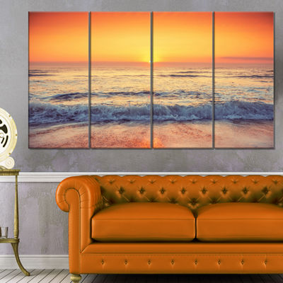 Designart Yellow Cloudscape Over Seashore Large Beach CanvasWall Art - 4 Panels