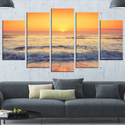 Yellow Cloudscape Over Seashore Large Beach Wrapped Wall Art - 5 Panels