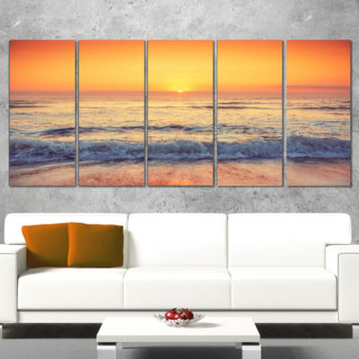 Yellow Cloudscape Over Seashore Large Beach CanvasWall Art - 5 Panels