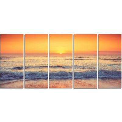 Designart Yellow Cloudscape Over Seashore Large Beach CanvasWall Art - 5 Panels